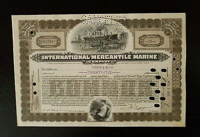 Original 1902 International Mercantile Marine Company Capital Stock Certificate