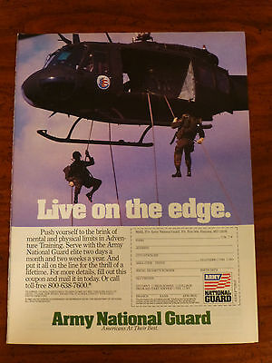 vintage old 1980's join the ARMY NATIONAL GUARD magazine print ad recruiting