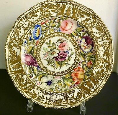 Beautiful Gilded Derby Sampson Hancock Cabinet Antique Plate with Flowers