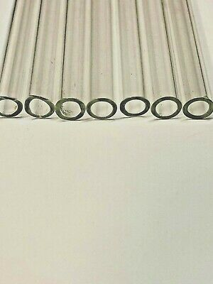 """SET BY 8 12x2x4"""" LONG  PYREX BLOWING GLASS TUBES  12 mm 2 mm THICKNESS -CLEAR"""