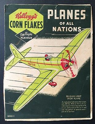 3 x Kellogg's Corn Flakes Cereal Packet backs - Planes of All Nations - Series 2