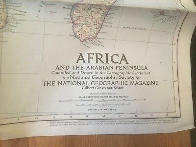 Vintage National Geographic Map - Africa and the Arabian Peninsula (1950)