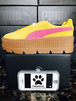 big sale 3bf3f 26f59 PUMA FENTY BY Rihanna Cleated Creeper Suede Lemon 366268-03 Women's Size 7.5