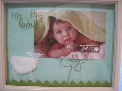 """My Little Lamb Baby Picture Frame 9 3/4"""" X 7 3/4"""" ~ 4"""" X 6"""" Photo New"""