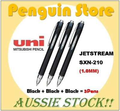 Uniball Jetstream SXN-210 1.0mm Black+Black+Black 3Pens Aussie stock Japan pen