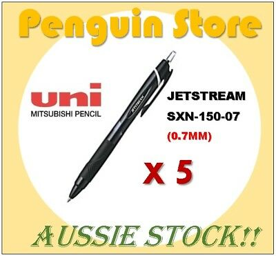 Uniball Jetstream SXN-150 0.7mm Black x 5  Aussie stock Japan pen
