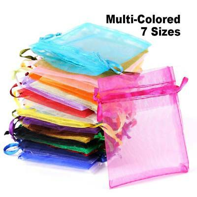 25-100x Organza Gift Bag Jewellery Present Pouch XMAS Wedding Party Candy Favour