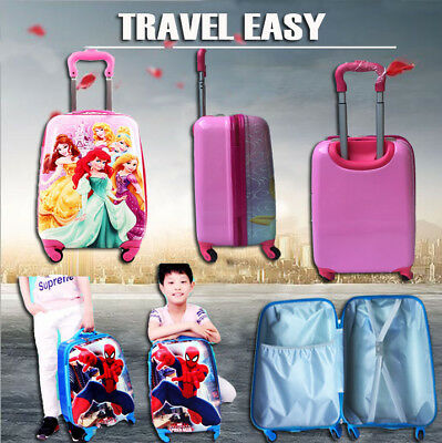 Kids Girls Hard Shell Travel Suitcase Cabin Holiday Trolley 4 Wheel Luggage Bag