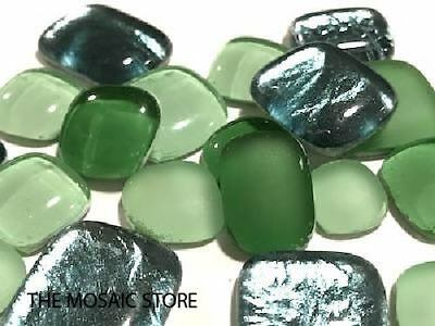 Green Mixed Glass Pebbles - Mosaic Art Craft Supplies Tiles
