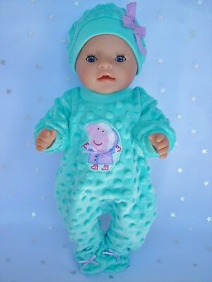 """Dolls clothes  for 17"""" Baby Born  doll~MINT PEPPA PIG BOBBLE JUMPSUIT & HAT"""