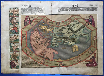 World map NUREMBERG CHRONICLE 1493, Hartmann Schedel, Liber chronicarum, RARE!
