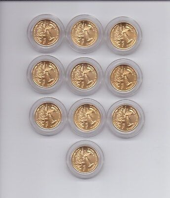 10 x 1/10 Oz Gold Eagle 5 USD USA 1 OZ (Unze) von 2016 je in Kapsel Stempelglanz