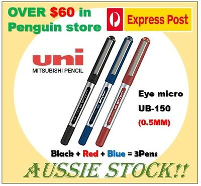 Uniball Eye UM-150 0.5mm Black+Blue+Red 3Pens Aussie stock Japan pen
