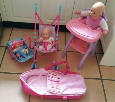 Baby doll accessories. Doll high chair. Doll baby carrier, doll pram. doll bed