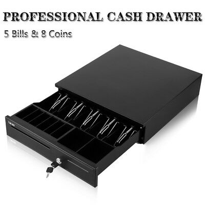 Cash Register Drawer Box 5 Bill 8 Coin Tray Compatible Works w/ POS Printer RJ11