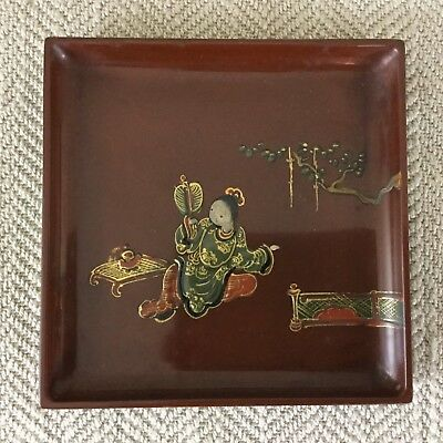 Vintage Japanese Lacquer Ware Tray Plate  Geisha Tea Ceremony  Hand Painted