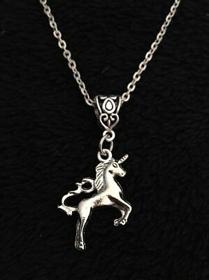 "3D Unicorn Charm Necklace Pendant Mythical Magical Horse Horn 18"" Chain Silver"