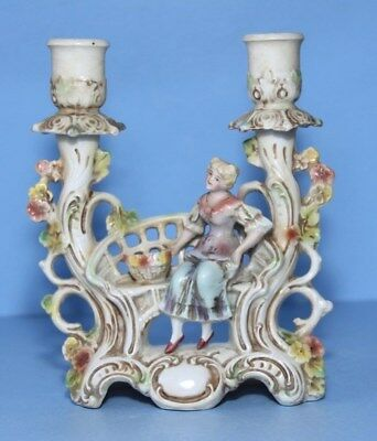 Antique German  Fairing / Candle holder,. Maiden sat on a curved bench , Quality
