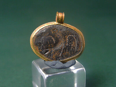 Ancient Gold & Bronze Pendant Eagle Image Roman 100-300 Ad