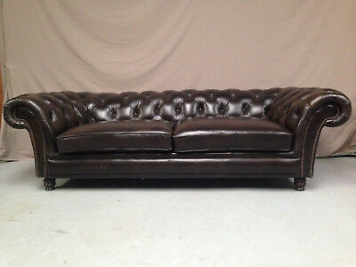 Canape Chesterfield Marron 4 Places
