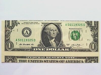 $1 Bill  2013 -- False Cutting Error-