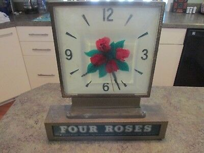 Vintage Counter or Wall NY Four Roses Whiskey Display Lighted Bar Clock Sign