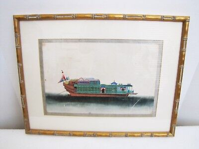 Antique Early 20C Chinese Export Junk Boat Watercolor Painting Pith Rice Paper