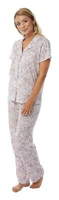 Ladies Short Sleeve Cotton Jersey Pyjamas In Floral Print By Marlon Size 8-26