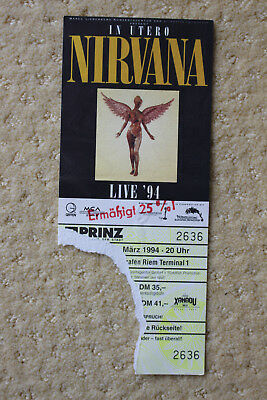 NIRVANA ticket from LAST SHOW MUNICH 1.März 1994 in utero tour K. COBAIN concert