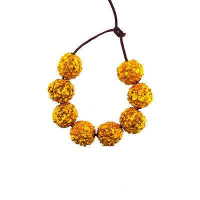 (2036)Antique rudraksha beads gold plated.Mala beads.