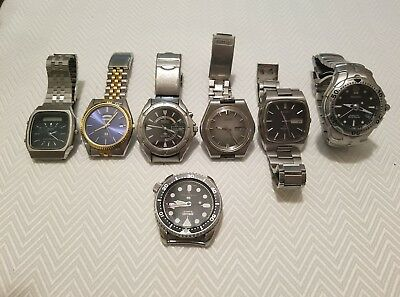lot of all mens Seiko watches 7 pieces Diver vintage