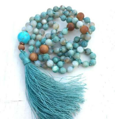 2018 new 6MM natural gemstone Agate 108 praying Mala necklaces knotted tassel