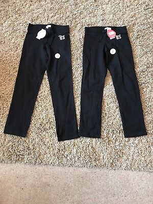 Girls Marks And Spencer Black Tracksuit Trousers (2 pairs) Age 9-10