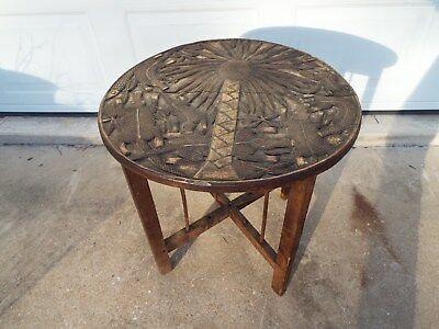 Vintage Collapsible Carved Wood Table - Palm Tree - Folding - Antique