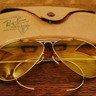 VTG 1950's Bausch Lomb B&L Ray Ban Aviator Shooter Yellow Lenses 12k GF
