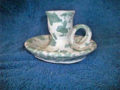 Vtg Bybee Pottery Green Sponge Ware Candle Holder With Handle Stoneware