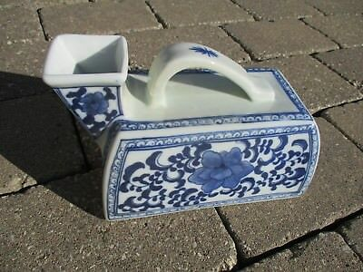 Vintage  Chinese Urinal / Chamber Pot - Blue and White Porcelain - Floral