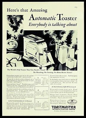 "1928 TOASTMASTER Stainless ART DECO Kitchen TOASTER ""No Watching!"" Vtg PRINT AD"
