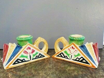 Candle holder Arts and Crafts Style Art Deco Pair Red Green Yellow