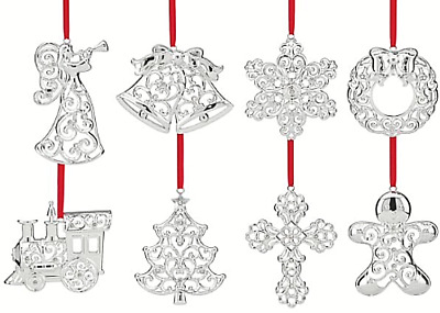 $320 Set Of Lenox Christmas Ornaments Sparkle And Scroll Crystal Silverplated