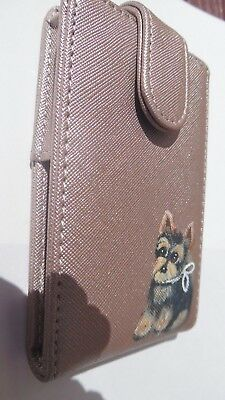 Hand Painted Yorkie Yorkshire  Lipstick holder Carrying case with mirror