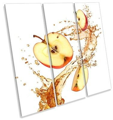 Apple Fruit Splash Kitchen Orange Framed TREBLE CANVAS PRINT Wall Art