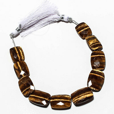 """Faceted Tiger Eye Natural Gemstone Beads Strand Length 7.25"""" 112 Ct."""