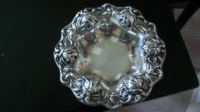 Beautiful  Frank M. Whiting Sterling Silver Embossed Rose Design Dish  not scrap