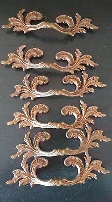 6 Vintage Antique Cast Brass Handle Pull Dresser Drawer Cabinet Pulls