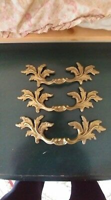 3 Vintage Antique Cast Brass Handle Pull Dresser Drawer Cabinet Pulls 10.5 ""