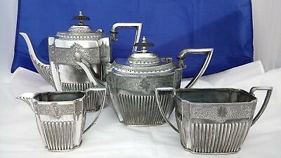 Antique Silver Plate 4 Piece Tea & Coffee Set By Mark Willis & Son Sheffield