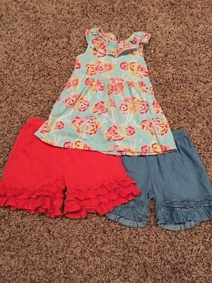 Southern Tots Lot Size 4T Preowned Chambray Ruffle Shorts Floral Coral