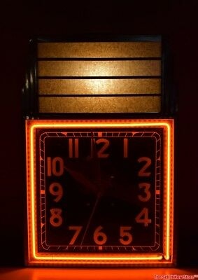 RARE All American Clock Co Chicago Art Deco Advertising Marquee Neon Clock Diner