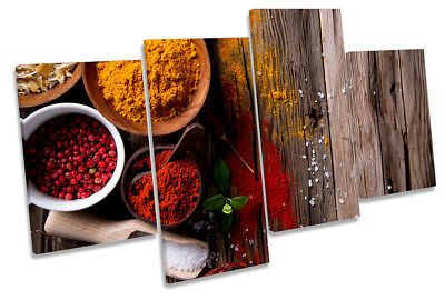 Kitchen Hot Spices Herbs Framed MULTI CANVAS PRINT Wall Art